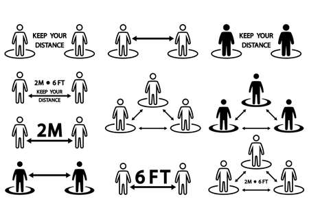Social distancing icon. Keep a safe distance social distancing in queue 2 meters or 6 feet, instruction. Infographic against the spread of the virus. Avoid crowds. Safe distance. Vector