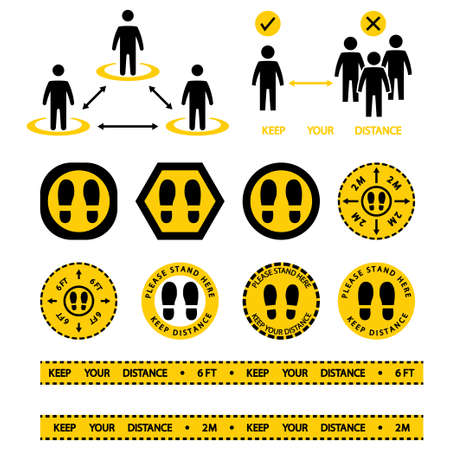 Stand here sign. Social distancing icon. Keep the 2 meter or 6 feet distance. Avoid crowds. Safe distance. Apart yellow tape warning. Footprint floor sticker, stand here. Vector illustration in flat
