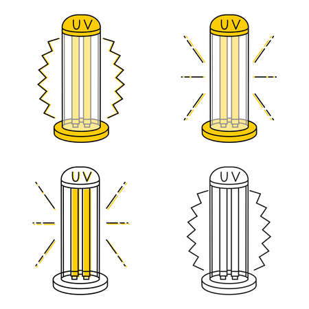 UV light disinfection lamps. Ultraviolet light sterilization of air and all surfaces. Device for disinfection of premises. Surface cleaning. Vector illustration