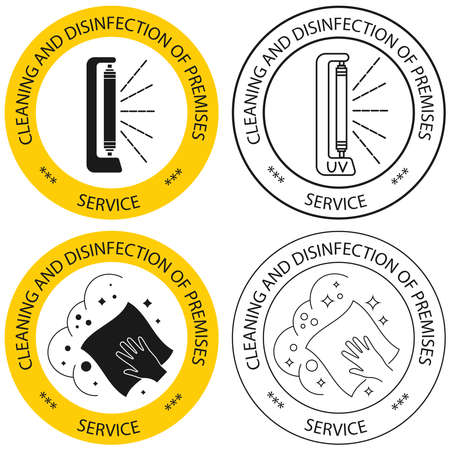 Disinfection of premises service. Sanitation at home. Housekeeping service. The concept of disinfection. Cleaning of all surface, icons. Sterile surface. Vector illustration, flat design