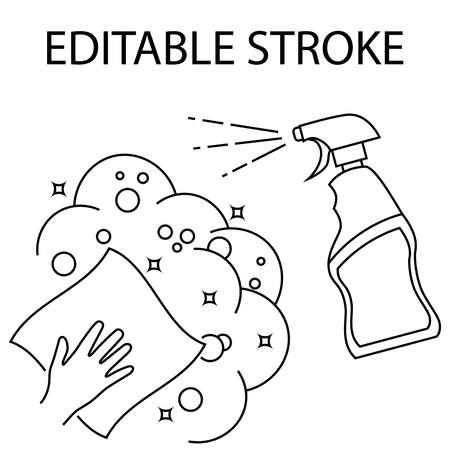Napkin in the hand with alcohol spray. Cleaning and disinfection of premises. Disinfection of all surfaces. Sterile surface. Sanitizer. Spray. Editable Stroke. Vector illustration