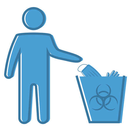 Dispose mask and gloves. Properly dispose the used surgical mask into the Biohazard waste bin. Infectious disease control. Disposal of medical supplies. Flat icon. Vector illustration