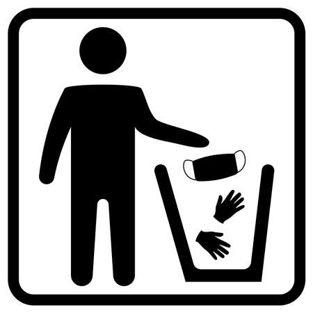 Dispose mask and gloves. Properly dispose the used surgical mask into the Biohazard waste bin. Infectious disease control. Disposal of medical supplies. Vector illustration