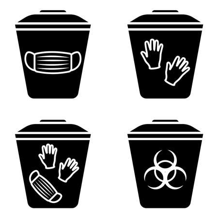 Biohazard waste disposal. Bin, with the symbol of infectious waste. Disposal of medical supplies. Garbage sorting vector icon set. Trash can with Biohazard medical gloves and mask symbol. Glyph