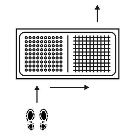 Disinfectant mat. Sanitizing mat. Antibacterial entry rug in outline style. Disinfecting carpet for shoes. Sterile surface. Two-zone mat for disinfect in shoes. Motion scheme. Vector illustration Illustration