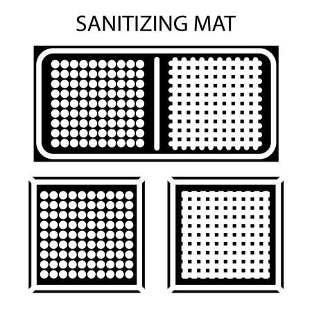 Disinfectant mat. Sanitizing mat. Antibacterial entry rug. Glyph. Disinfecting carpet for shoes. Sterile surface. Two-zone mat for disinfect in shoes. Vector illustration