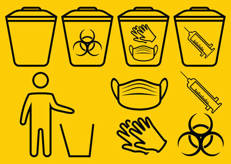 Medical mask utilization. The man throws the medical trash. Biohazard waste disposal. Biohazard infectious waste. Trash can with Biohazard medical gloves and mask symbol. Covid waste. Thin line. Vector Vetores