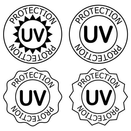 UV protection icons. UV light disinfection. Ultraviolet germicidal irradiation. Badge for sun protection cosmetic products. Surface cleaning and protect. Contour isolated vector, black illustration Vecteurs