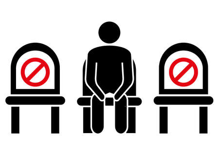 Do not sit here. Keep social distance to prevent infection with the coronavirus. Distancing sitting. Keep your distance when you are sitting. Man on the chair. Glyph icon. Vector illustration Vektoros illusztráció