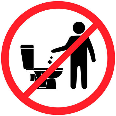 Do not litter in the toilet. Toilet no trash. Keeping the clean. Please do not flush paper towels, sanitary products, sign. Forbidden icon. No littering, warning symbol. Public Information. Vector