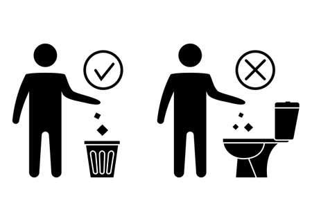 Do not litter in the toilet. Toilet no trash. Keeping the clean. Please do not flush paper towels, sanitary products, icons. Forbidden icon. Throwing garbage in a bin. Vector illustration