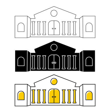 Museum or bank building icon. City architecture, public, government building. Art museum symbol. Building icons in outline or glyph style. Vector illustration isolated on white background