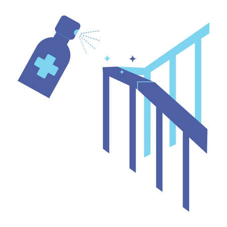 Handrail disinfection. Railing and antibacterial spray. Sanitation and hygiene sign. Disinfect bannister with sanitizer spray. Home sterilization, surface cleaning, house cleansing. Vector
