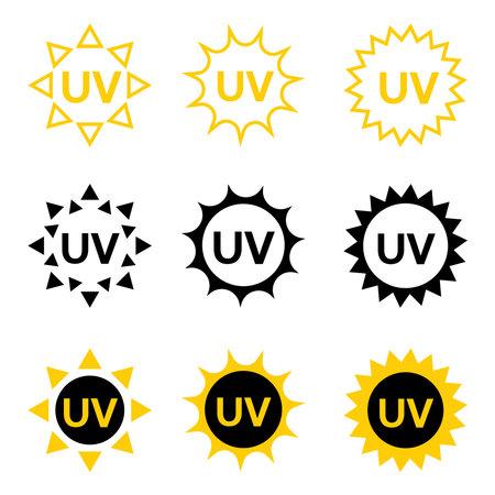 UV sterilization stamp. Sanitation device information sign. Badge set for ultraviolet sterilization. Ultraviolet germicidal irradiation. Surface cleaning, medical decontamination procedure. Vector