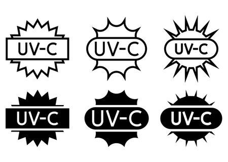 UV sterilization stamp. Sanitation device information sign. UV radiation, solar ultraviolet icons. Antimicrobial UVC Light Sanitation. Surface cleaning badges. Vector illustration