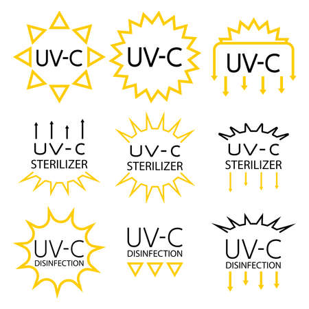Information signs for packaging markings with UV devices inside. UV-C sterilizer and disinfection stamp symbols. Sanitation device information sign. Stickers for ultraviolet devices. Vector isolated Vecteurs