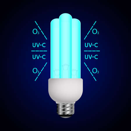 Blue luminous lamp with ultraviolet rays. Ultraviolet light sterilization of air and surfaces. Bactericidal lamp. UV-C sterilizer. Disinfection of premises. Medical decontamination procedure. Vector