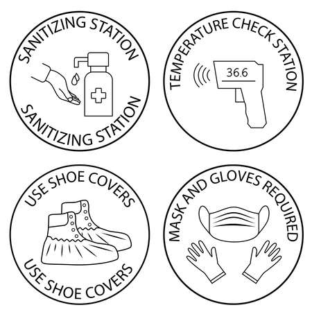 Mask, gloves and temperature scanning are required warning sign