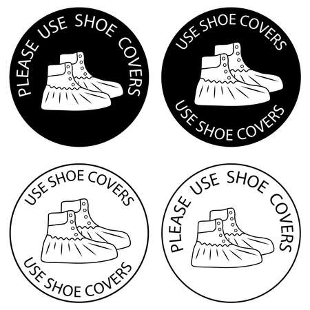 Polyethylene covering for shoes warning sign