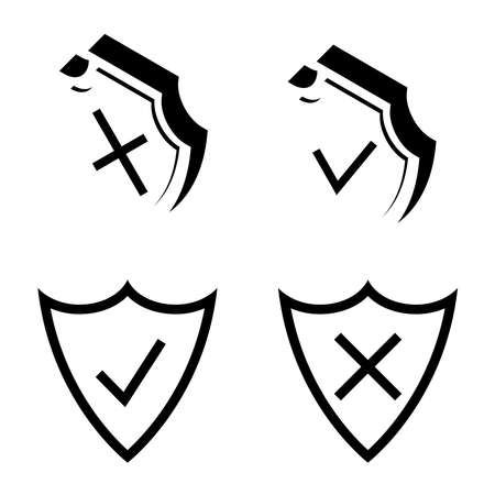 Shield security. Armor plate. Security and protection outline icons. Check mark icons. Symbols of check tick and reject are located on the shields. Symbols of approving and declining. Vector Vektorové ilustrace