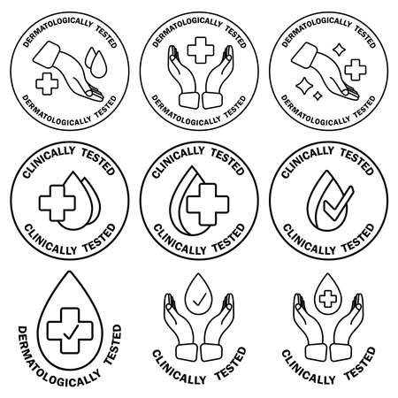 Dermatologically and clinically tested. Label with water drop, hand and cross. Medical tests icons. Clinically tested insignia stamp. Badges of hypoallergenic package label. Vector outline icons set