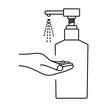 Hand sanitizer, pump bottle. Hand sanitizer alcohol gel bottle for cleaning, disinfection and washing. Sanitizer liquid soap. Applying a moisturizing sanitizer. Antiseptic gel. Editable stroke. Vector Ilustracja