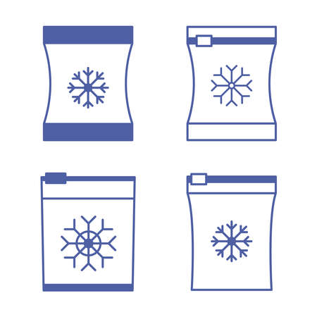 Set of vector frozen food bag. Freeze bag. Containers and bags for food semi-finished products frozen. Vacuum packed for freezing of food. Blue color icons set. Vector outline symbol
