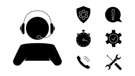 Customer service. Man with headphones. Online technical support. Concept illustration for assistance, call center, virtual help service. Support solution or advice. Vector Vettoriali