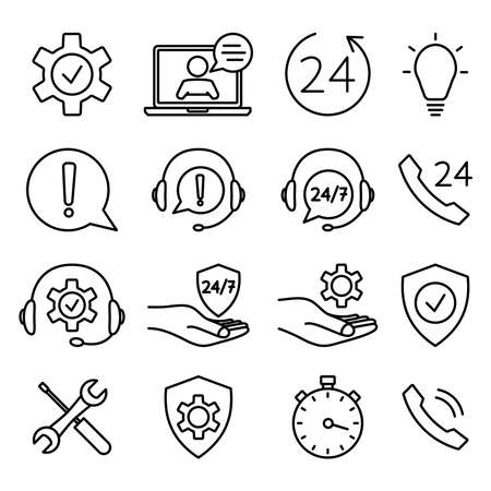 Help and support icon set. Online technical support. Concept illustration for assistance, call center, virtual help service. Support solution or advice. Vector outline