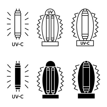 Bactericidal UV lamp. UV-C sterilizer lamp. Device with ultraviolet light. Ultraviolet germicidal irradiation and sterilization. Surface cleaning, medical decontamination procedure. Vector icons Vecteurs
