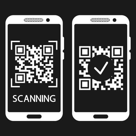 Scan QR code with mobile phone. QR code scans completed. Machine-readable barcode on smartphone screen. Verification or payment concept. Vector illustration isolated on black background