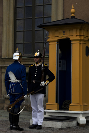 Royal guards of the palace in Stockholm (Sweden)