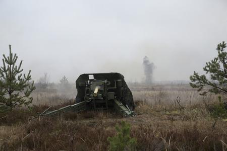 artillery: shot of artillery fire Stock Photo