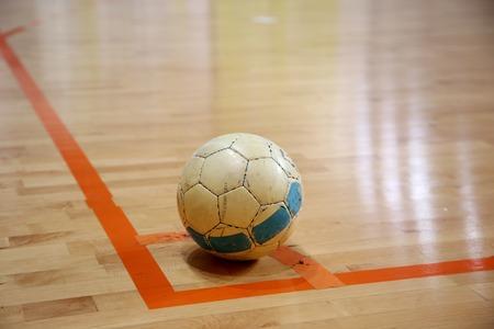 futsal: The futsal ball on the corner before kick Stock Photo