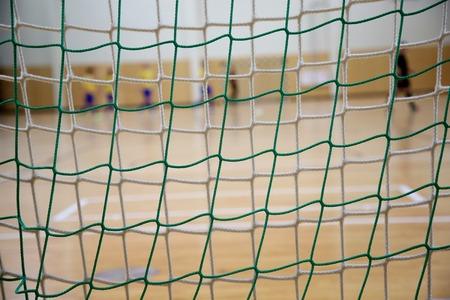 futsal: The background of futsal goalkeeper with front of gates net