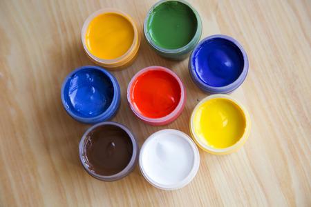 gouache: Gouache paint in the banks on the table
