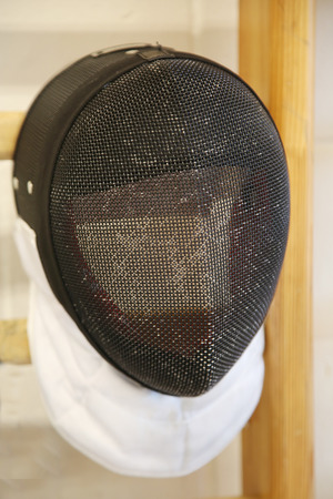 fencing wire: Fencing mask with the traditional fine wire mesh covering to protect the fencers face