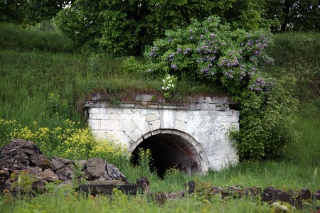 timeless: Old object of fortress. Abandoned place in bushes Stock Photo