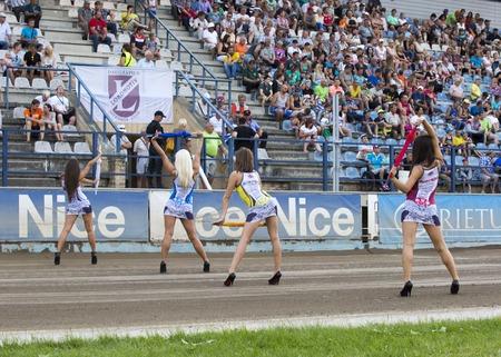 latvia girls: DAUGAVPILS, LATVIA - AUGUST 8, 2015: Match of Speedway polish league NICE Lokomotiv - Orzel Lodz 58:32 Editorial
