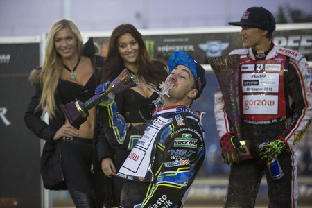 gran prix: DAUGAVPILS, LATVIA - JULY 18, 2015: 5th stage of speedway Gran Prix. 3rd place - Troy Batchelor Editorial