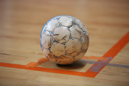 game to play: The futsal ball on the corner before kick Stock Photo