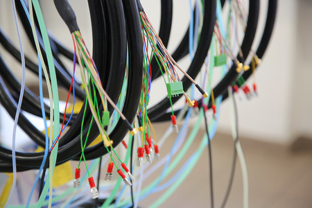 Few cable connection with wires of different colors