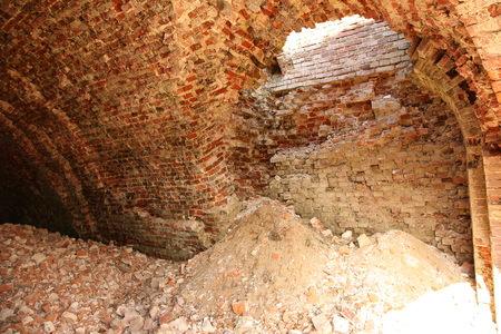 timeless: Inside of old and dangerous building drom red brick Stock Photo