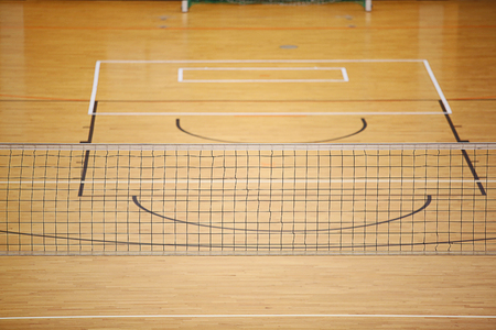Volleyball play ground with net in center