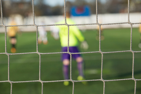 arquero: rear view of soccer goalkeeper with net foreground
