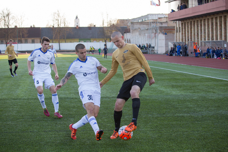 episode: DAUGAVPILS, LATVIA - April 27, 2016 - Episode of football match. Semifinal of Latvian Cup Daugavpils - Spartak 0:1 Editorial