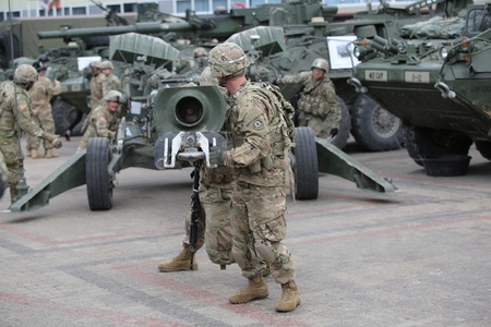 regiment: DAUGAVPILS, LATVIA - June 6, 2016. Military equipment and soldiers of 2nd Cavalry Regiment in Daugavpils. March Dragoon Ride II