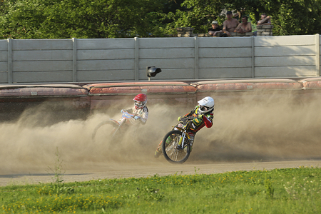 Polonia: DAUGAVPILS, LATVIA - June 26, 2016: Speedway riders on the track in match of polish NICE league Lokomotiv - Polonia (Pila) 51:39 Editorial