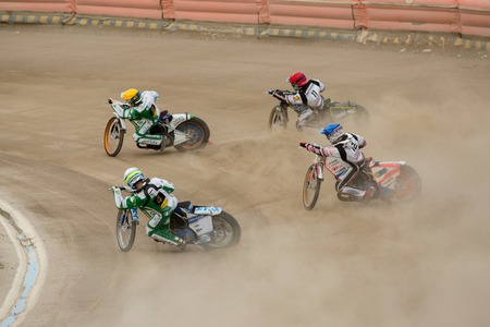 czestochowa: DAUGAVPILS, LATVIA - May 22, 2016: Speedway riders on the track in match of polish NICE league Lokomotiv - Wlo?kniarz Cze?stochowa 51:39