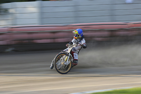 pila: DAUGAVPILS, LATVIA - June 26, 2016: Speedway riders on the track in match of polish NICE league Lokomotiv - Polonia (Pila) 51:39 Editorial